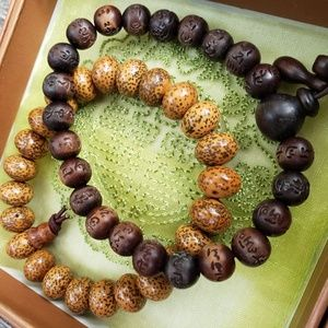Jewelry - Set of 2 Chinese Wood Bracelets, Mala Beads
